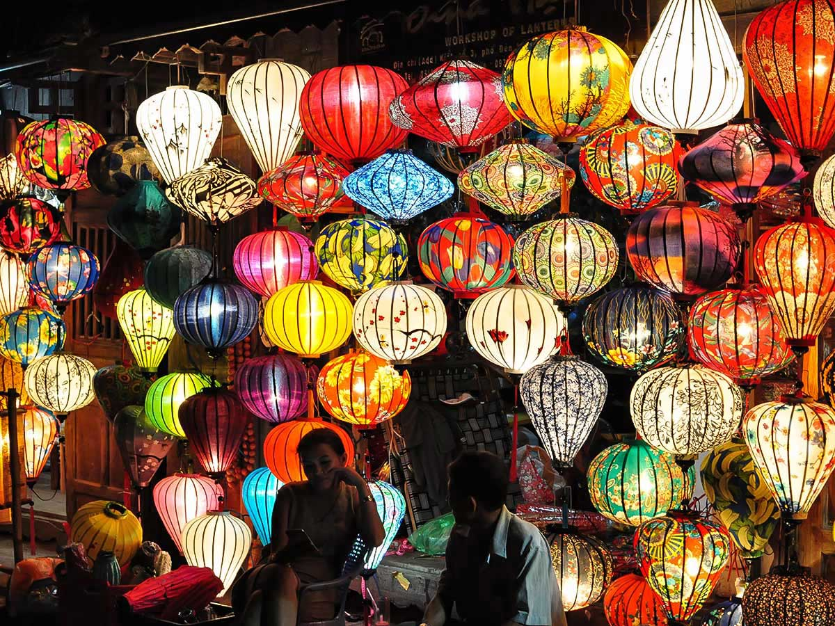 Colorful laterns in Hoi An seen on Vietnam Active Adventure Tour