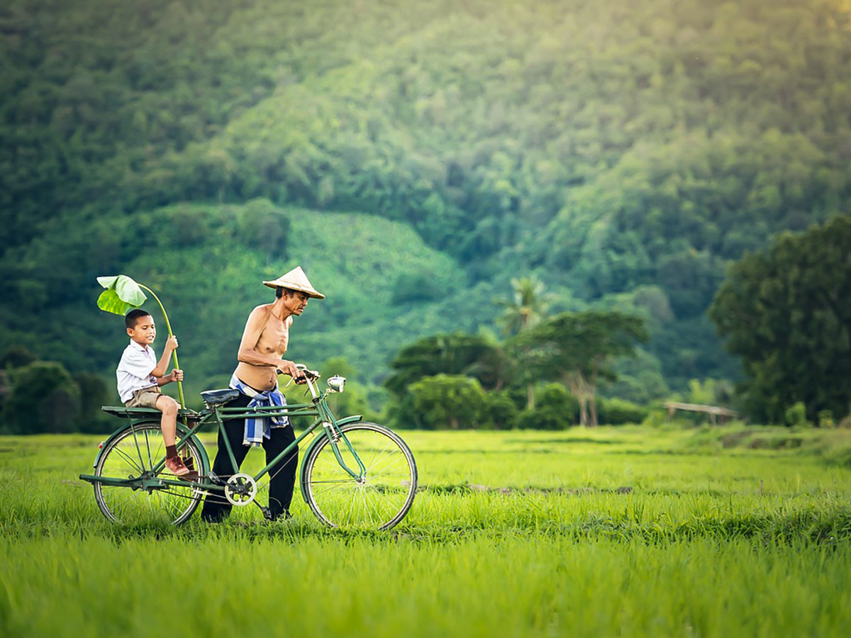 Father and son cycling along the trail of Vietnam Active Adventure Tour