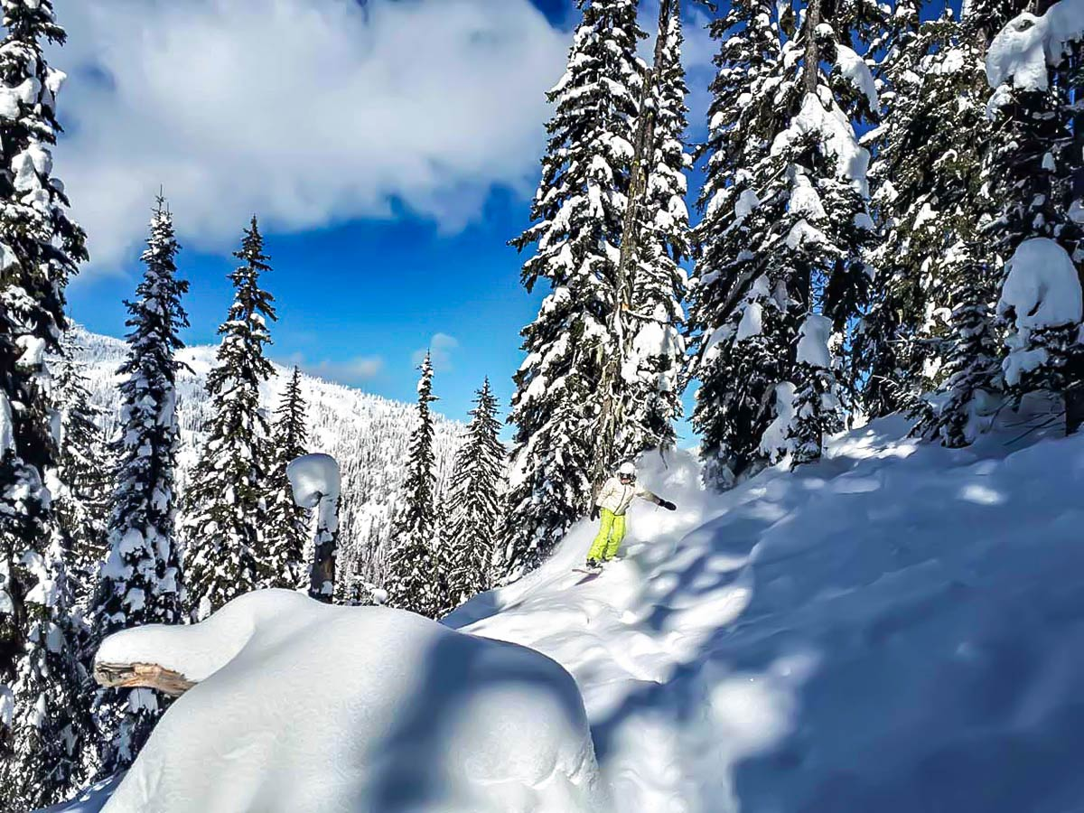 Skiing on a snowy slopes in British Columbia
