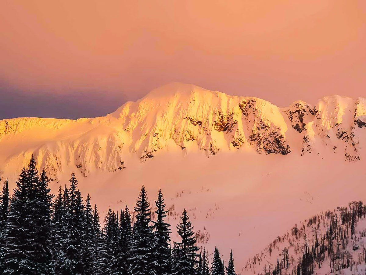 Beautiful mountain views seen on a guided 11-day ski tour in British Columbia