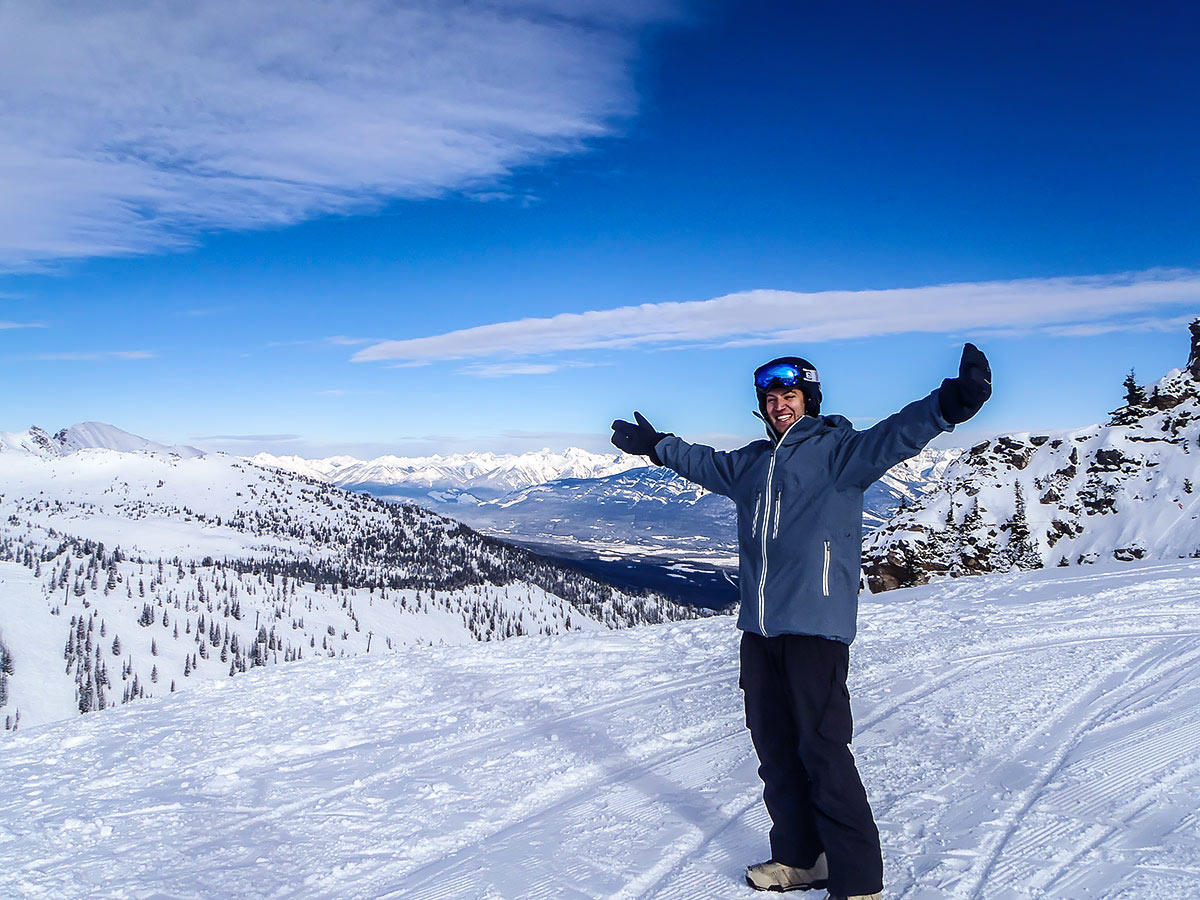 Skier posing in slope in the British Columbia