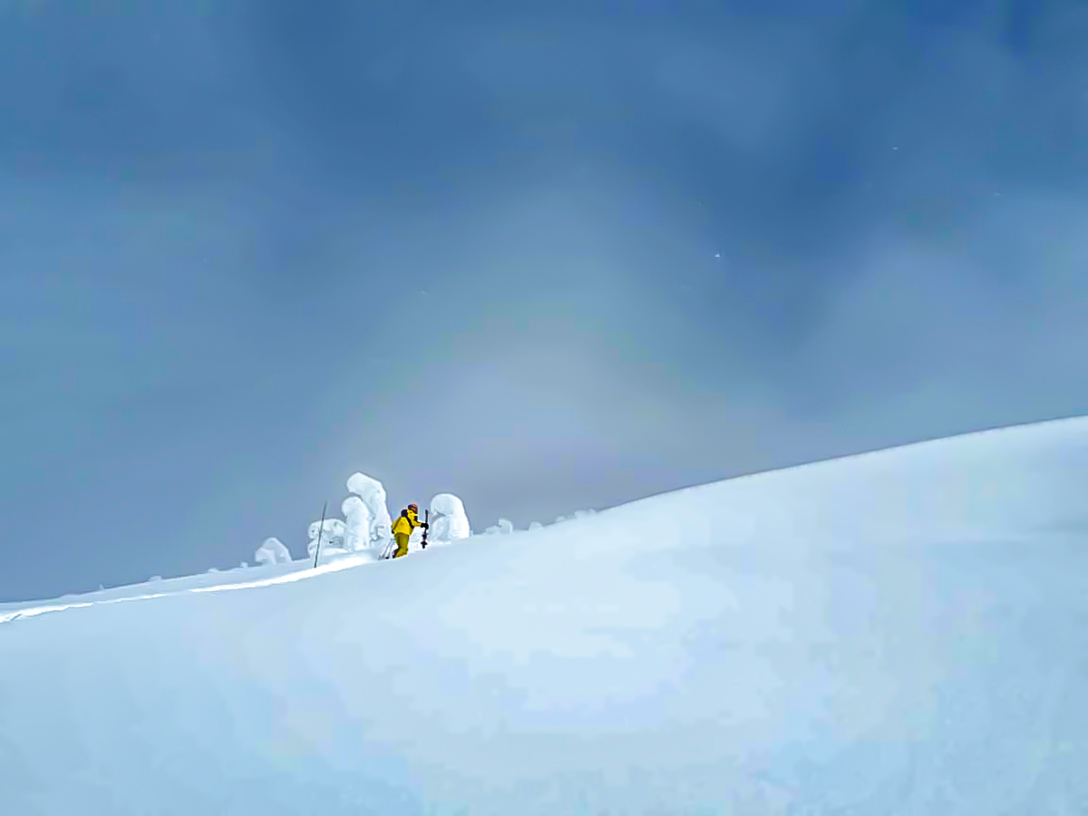 Expansive view of lone skier on a snowy mountain in British Columbia