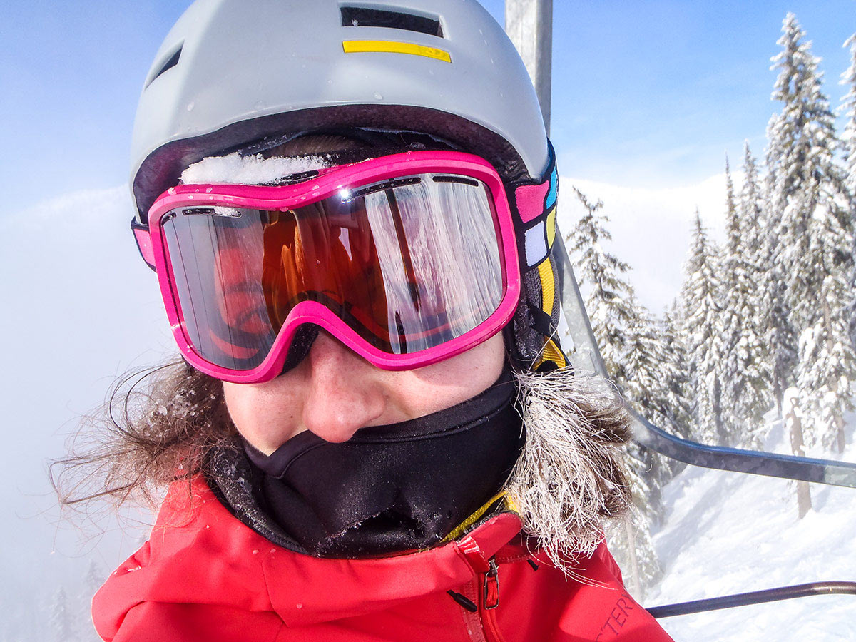 Happy skier in the British Columbia