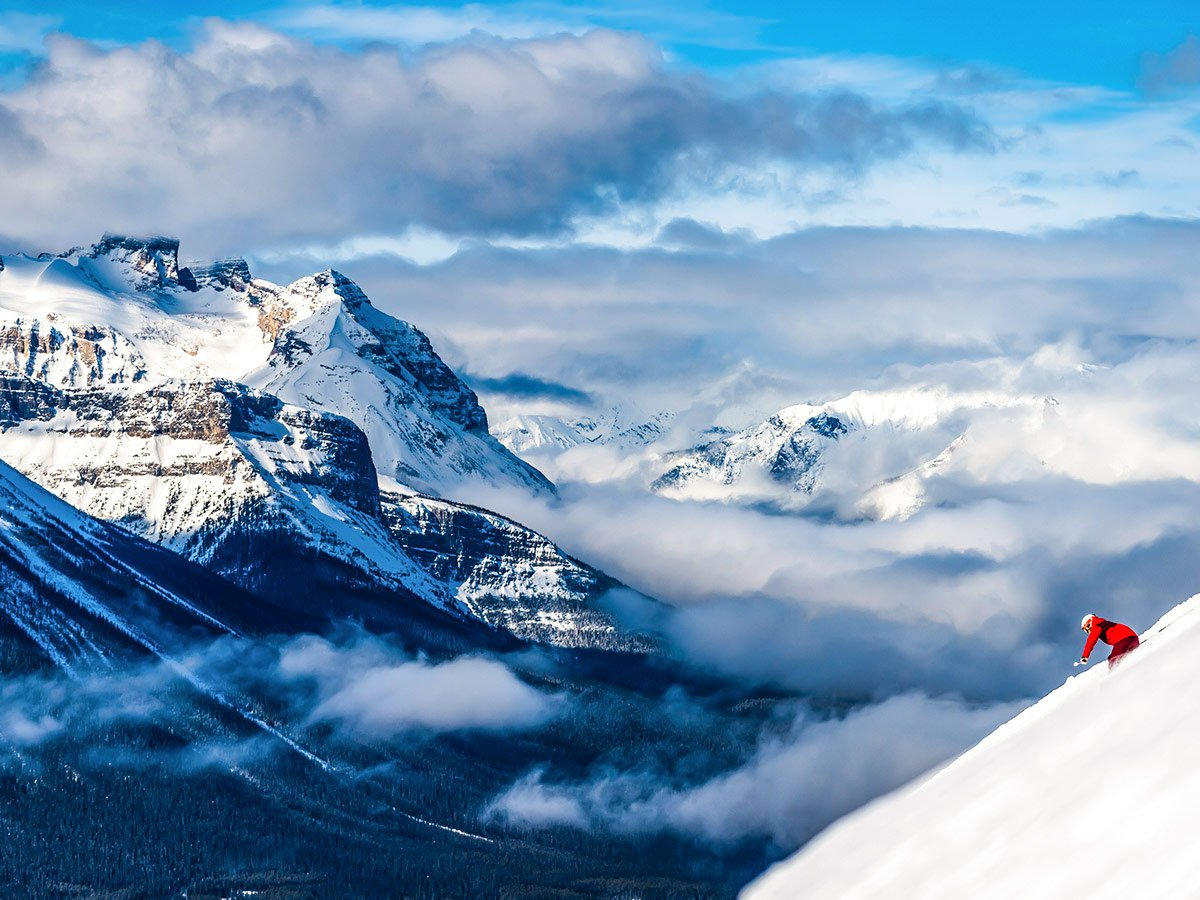 Stunning mountain views and skier in British Columbia