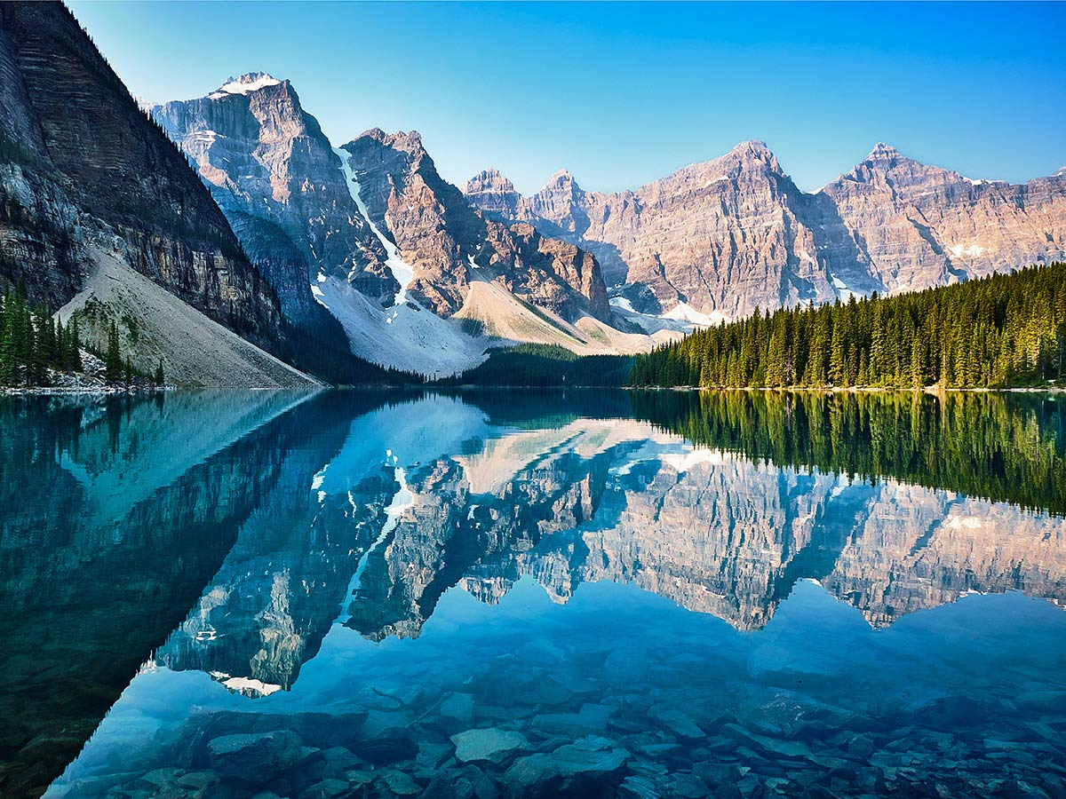 Moraine Lake visited on a guided family friendly tour in Canada