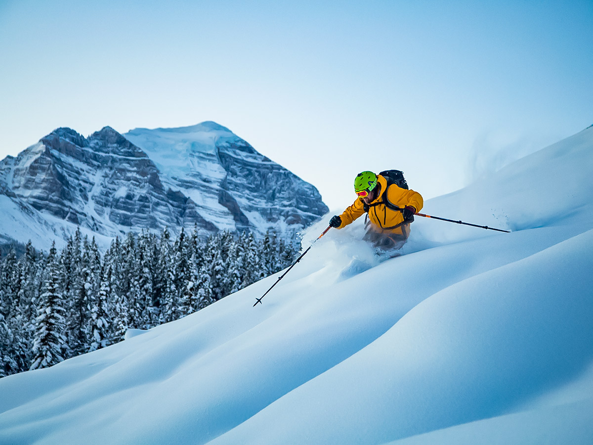 Skier in Rocky Mountain Backcountry Powder Highway tour