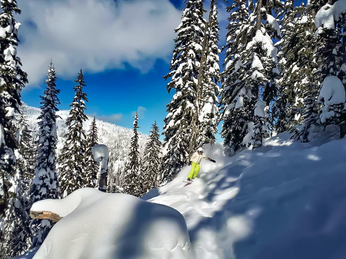 Snowboarding in the Canadian Rockies along the Powder Highway
