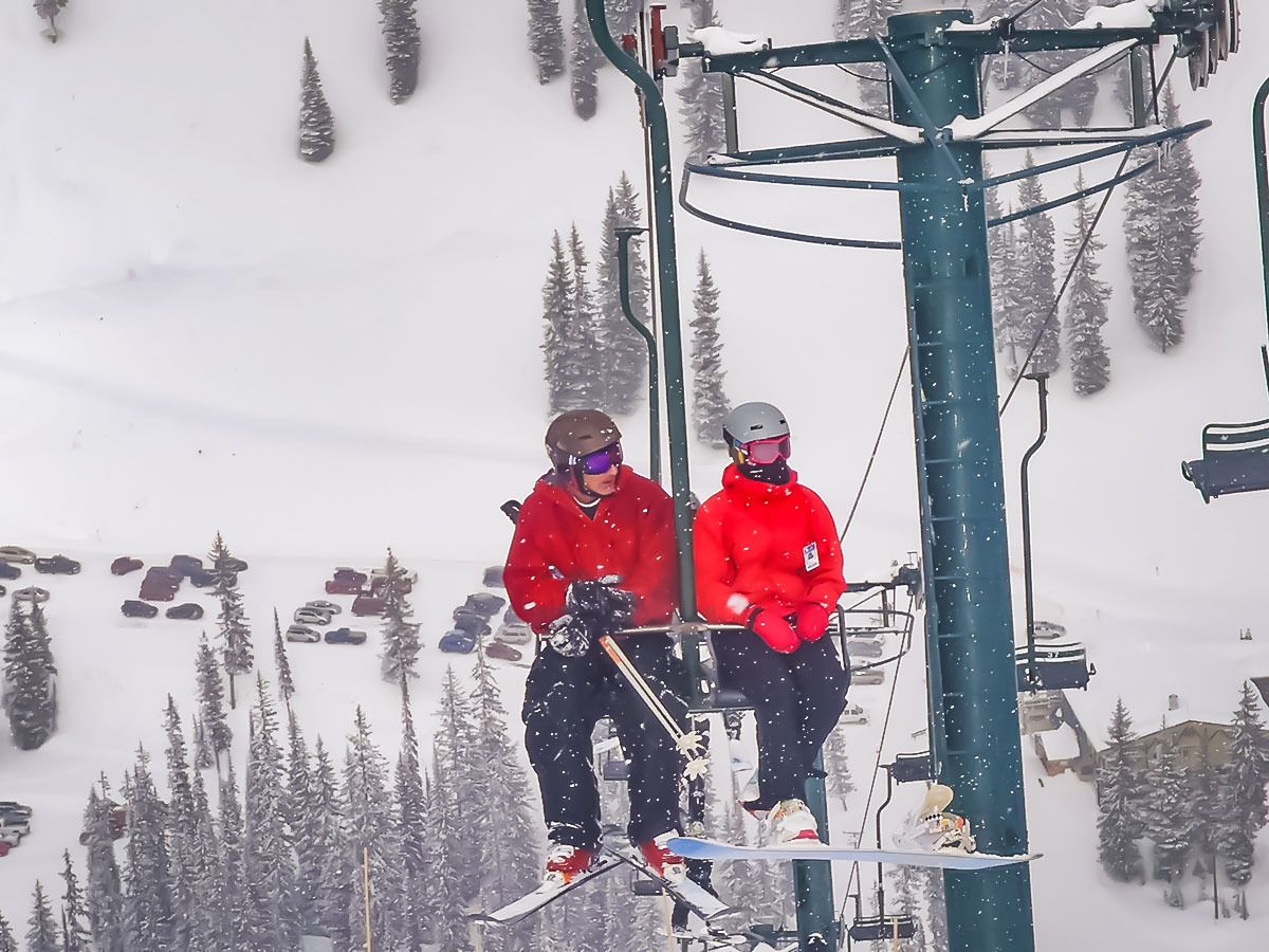 Going up the slope in one of ski resorts along the Powder Highway in Canada