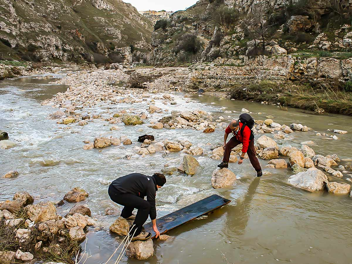 Crossing the creek on Puglia and Matera tour