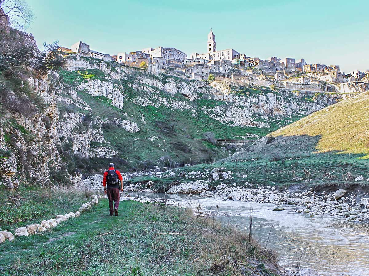 Walking along the river on Puglia and Matera walking tour