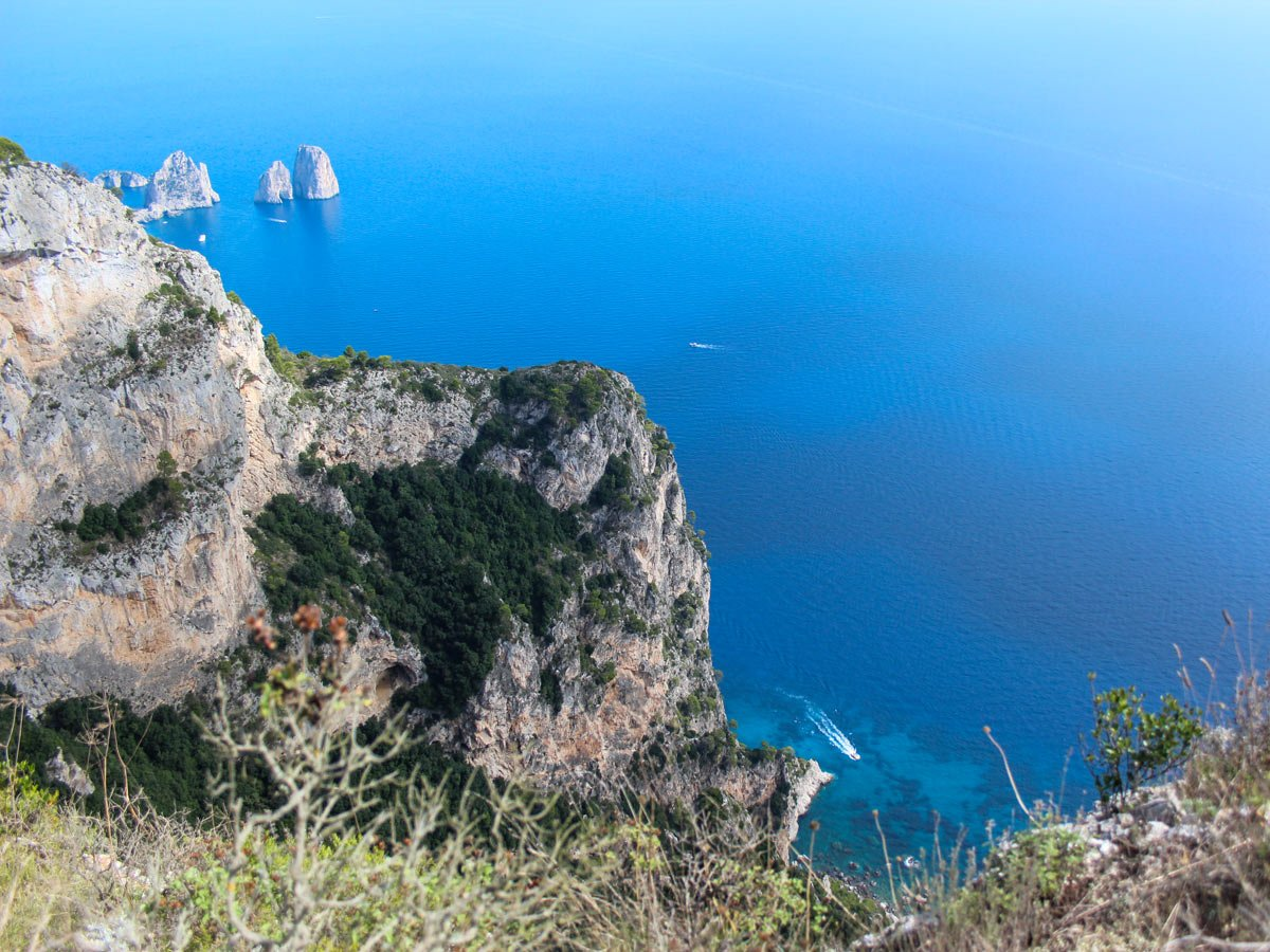 Looking down at the beautiful cove on self guided Amalfi and Capri walk in Italy