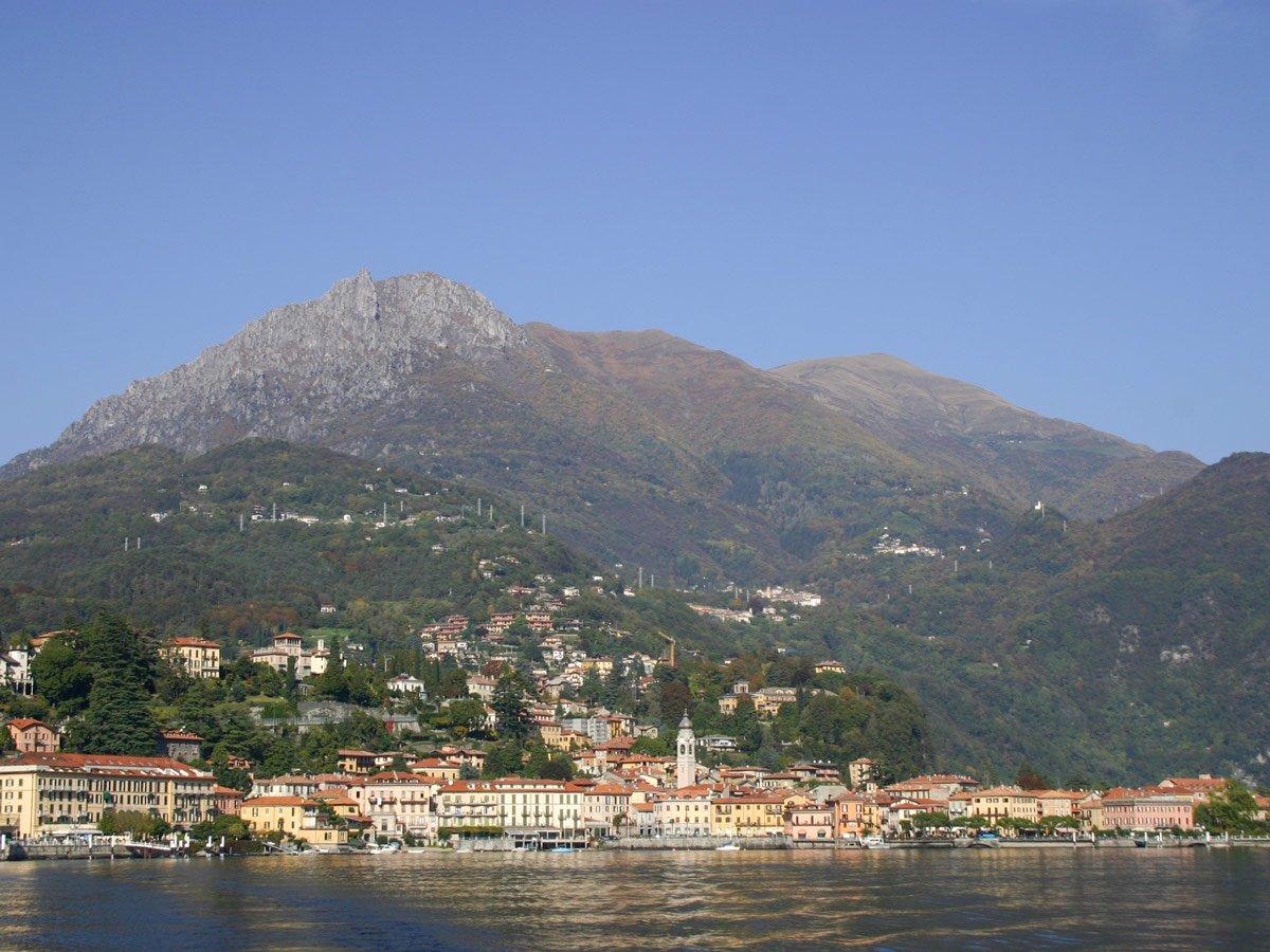 Mountains behind the town on Lake Como shores