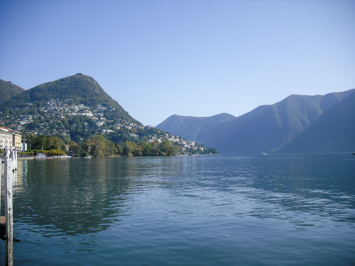 Views from the ferry on Lake Como Lombardy Italy