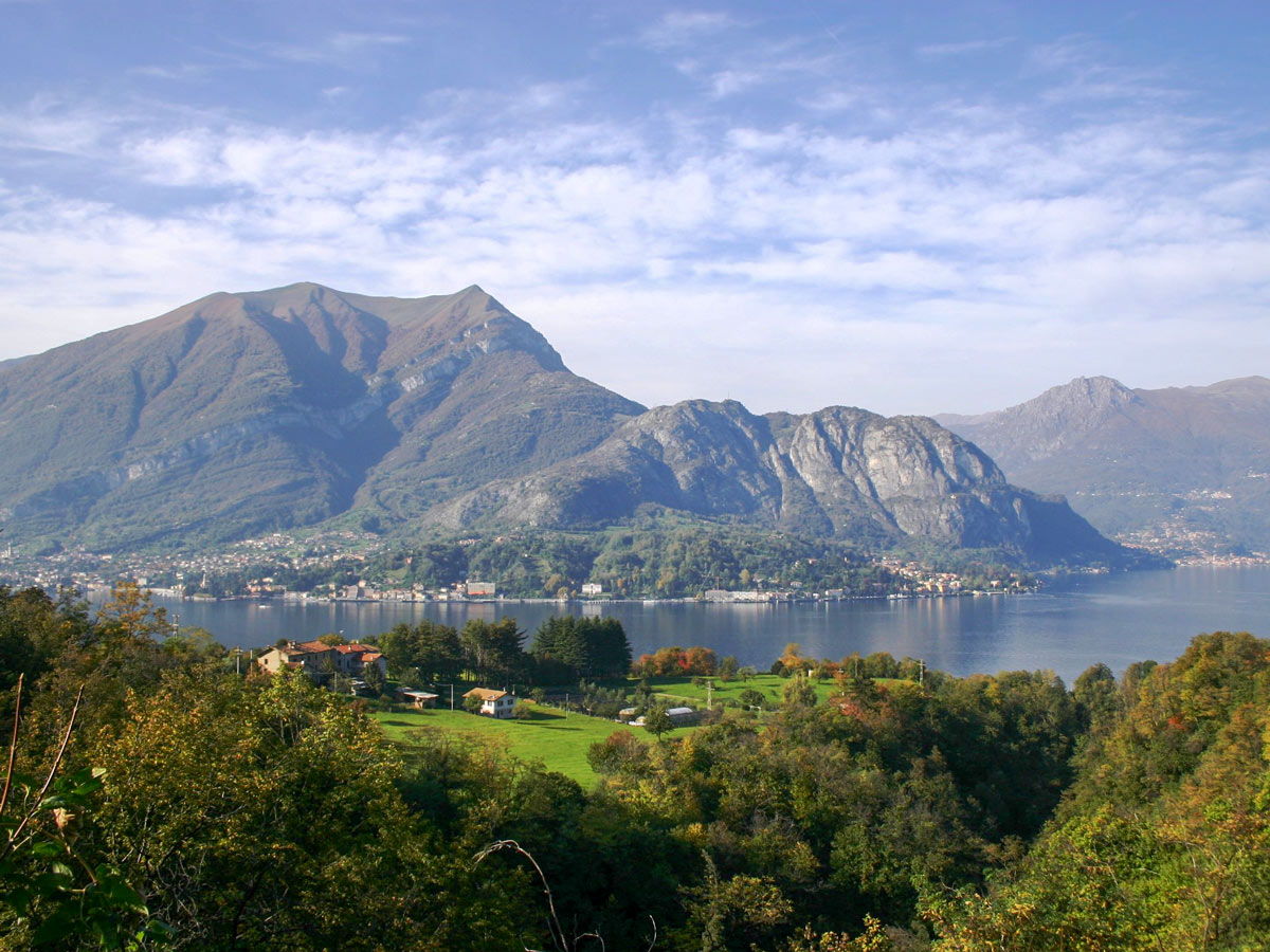 Looking at mountains behind the Lake Como self guided Lombardy Como and Lugano Walk Italy