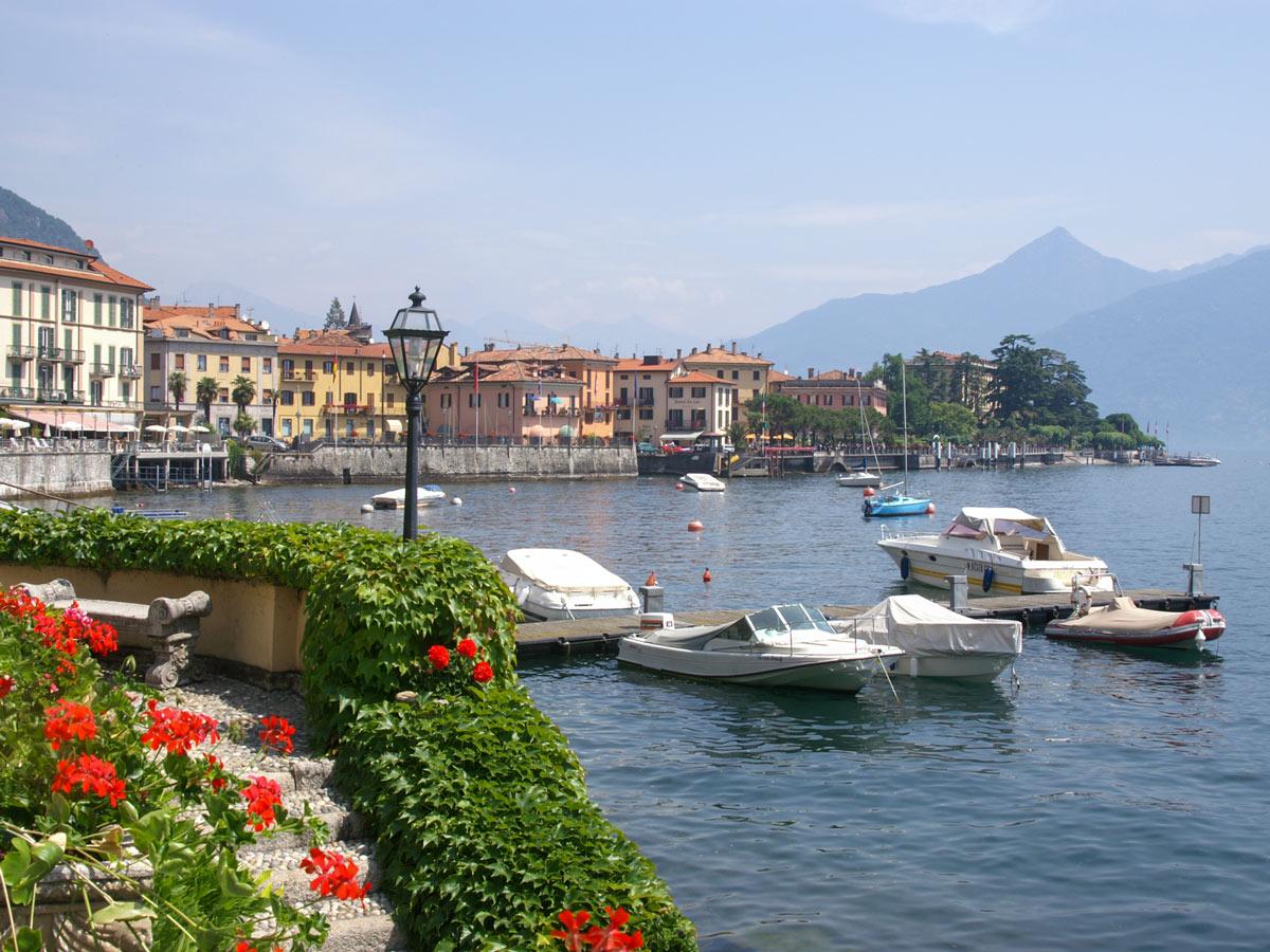 Beautiful Menaggio marina seen on self guided Lombardy Como and Lugano Walk