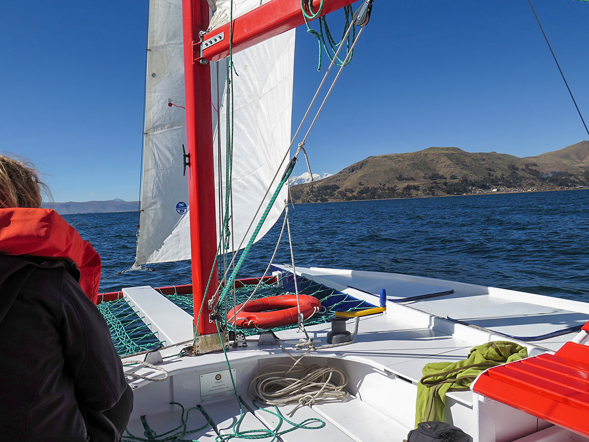 Catamaran trip in Titicaca lake as seen on guided Andes Journey in Bolivia Tour