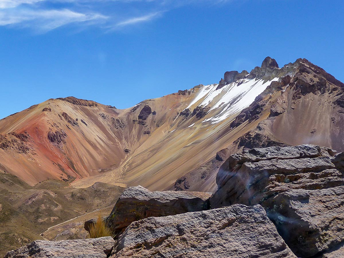 Approaching the Tunupa Volcano on guided Andes Journey in Bolivia Tour