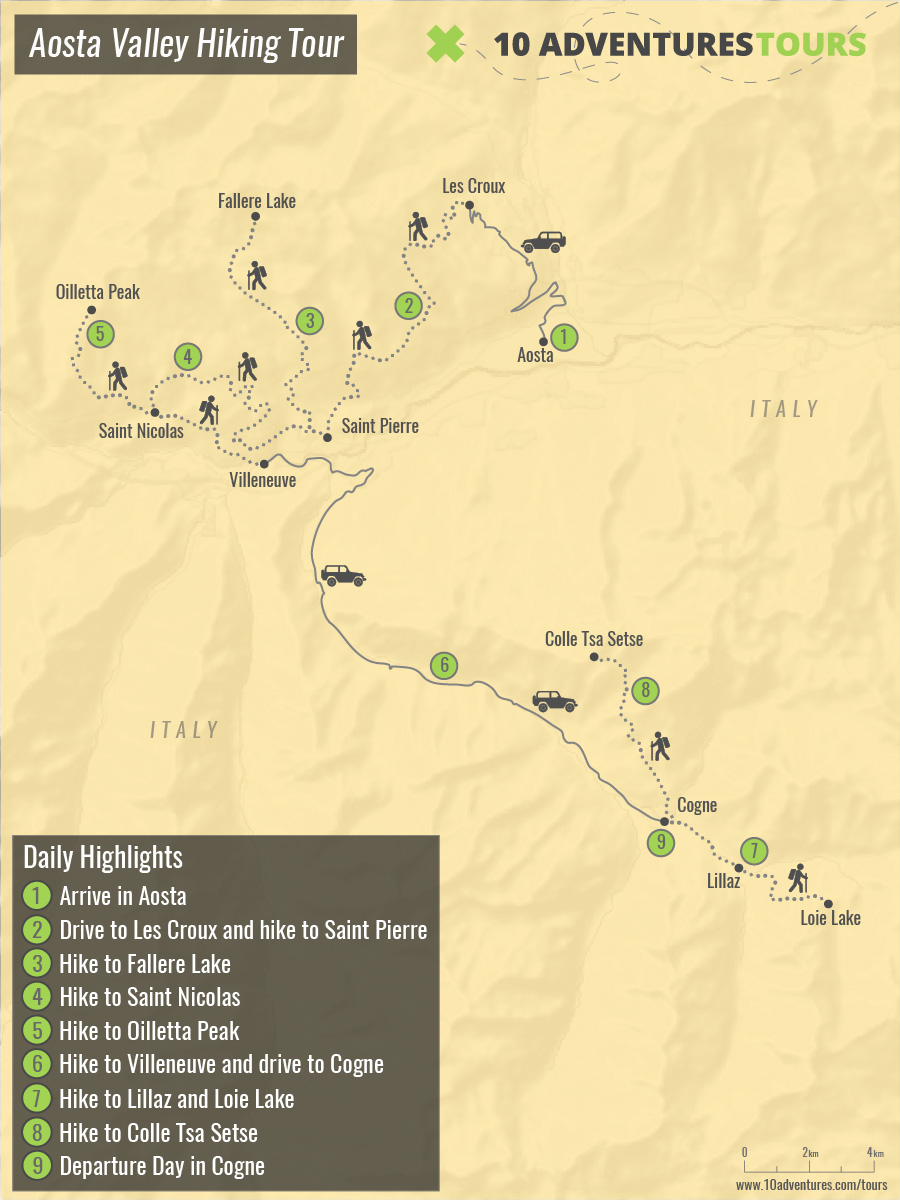 Map of Aosta Valley Hiking Tour