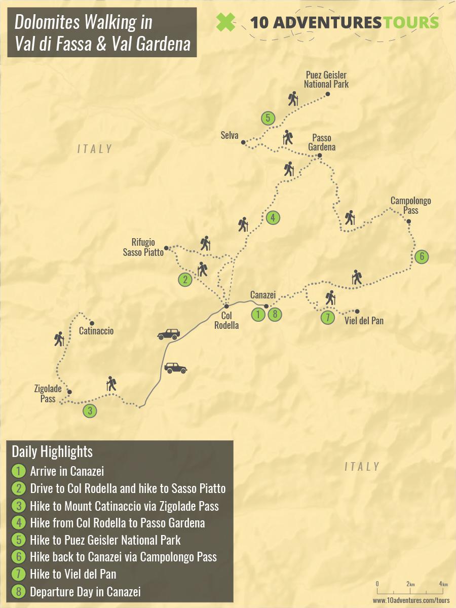 Map of Dolomites Walking in Val di Fassa & Val Gardena