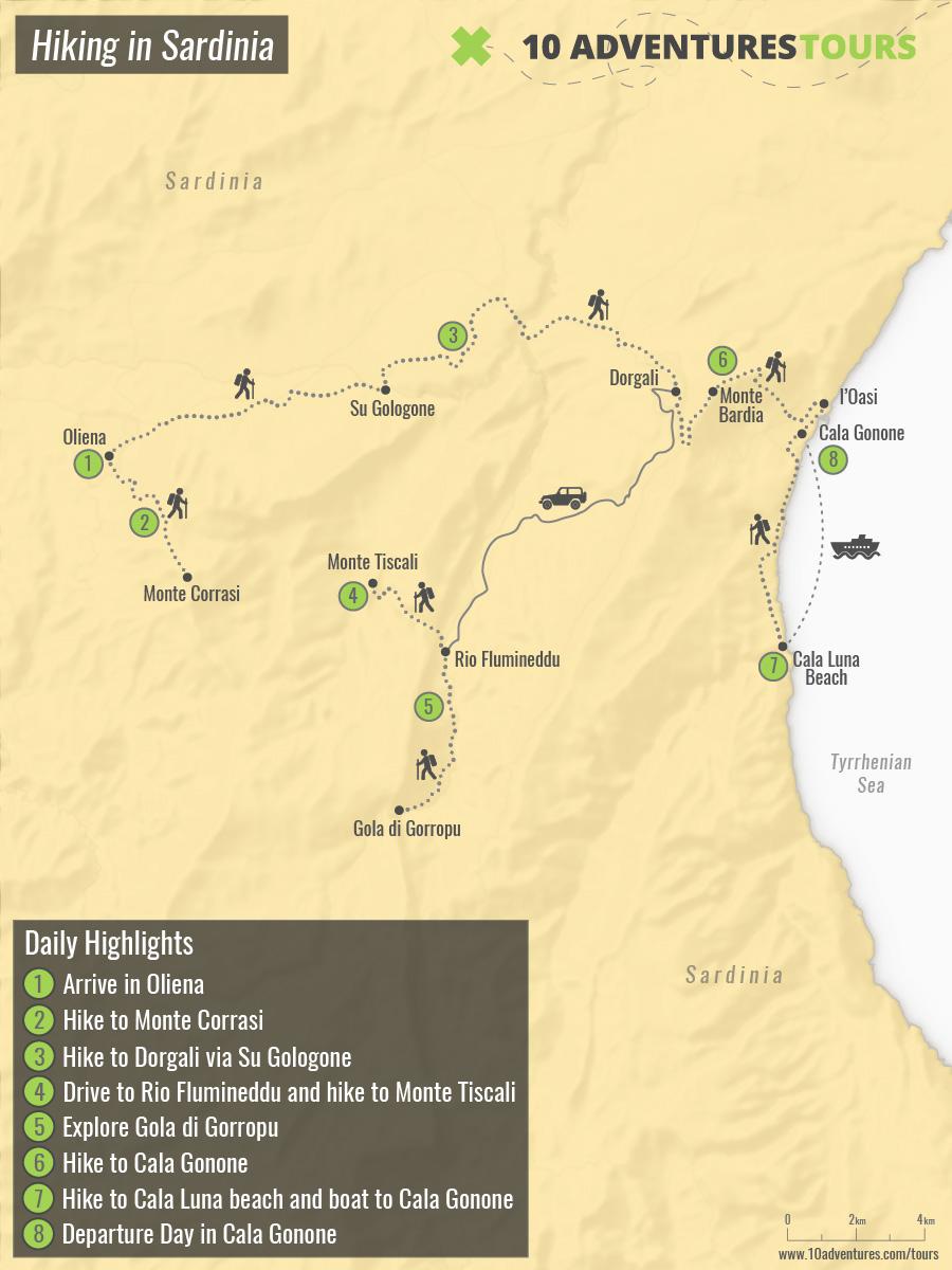 Map of Hiking in Sardinia Tour
