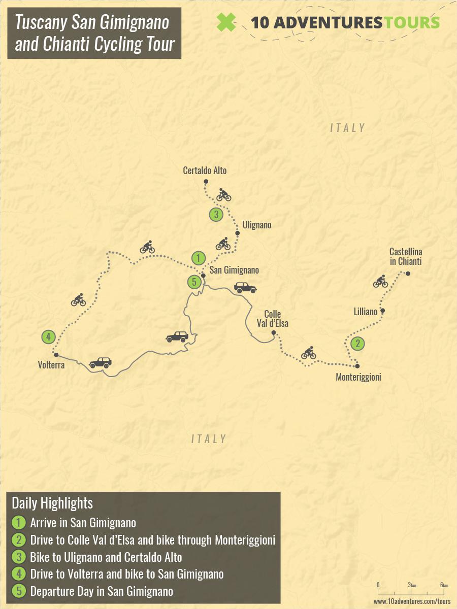 Map of Tuscany San Gimignano and Chianti Cycling Tour