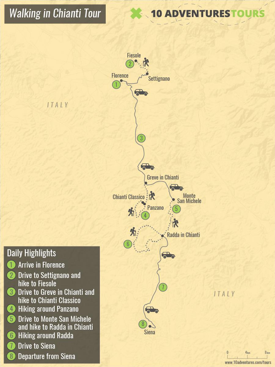 Map of Walking in Chianti Tour