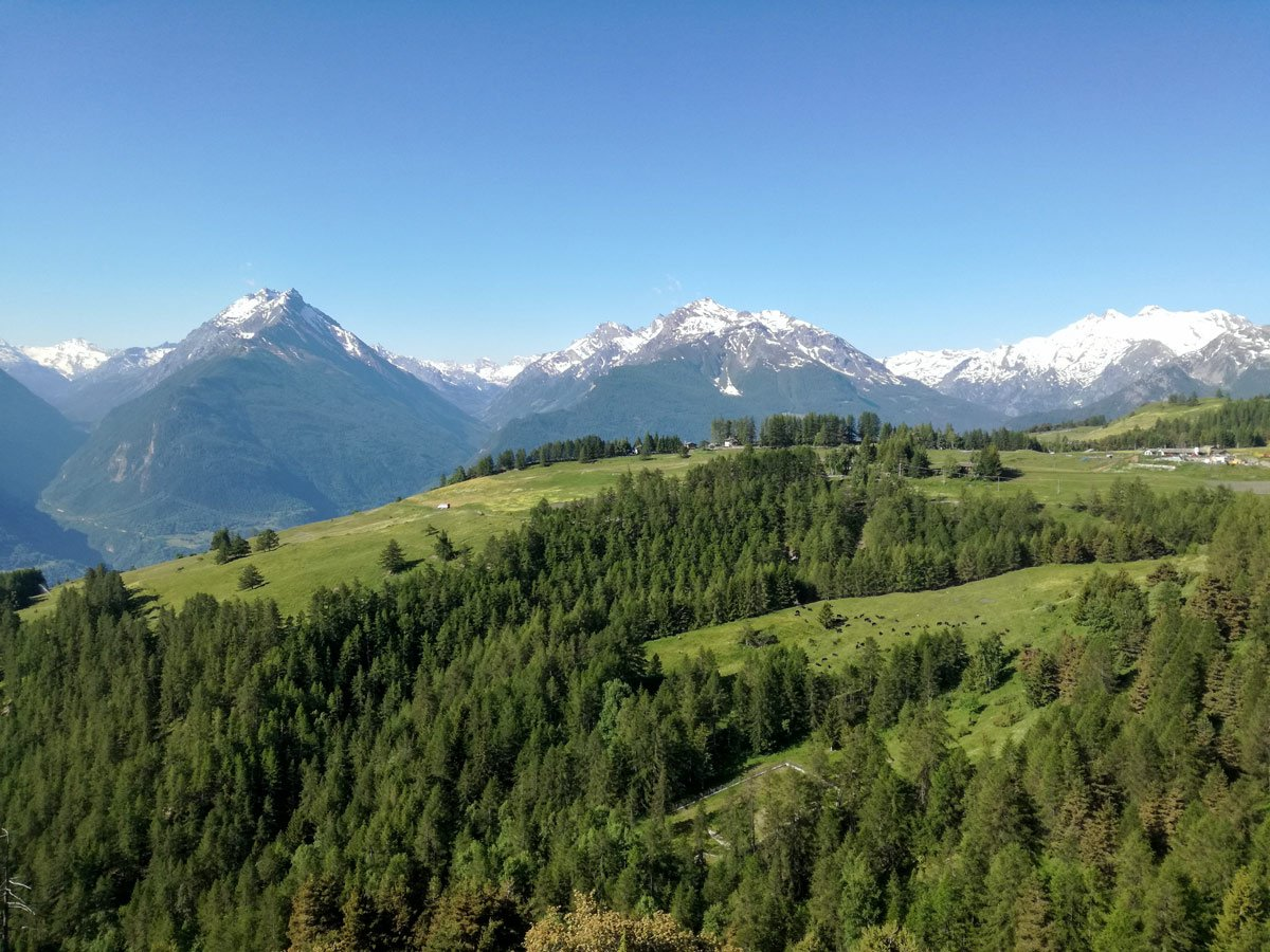 Beautiful views of the Aosta Valley seen on self guided hiking tour in Aosta
