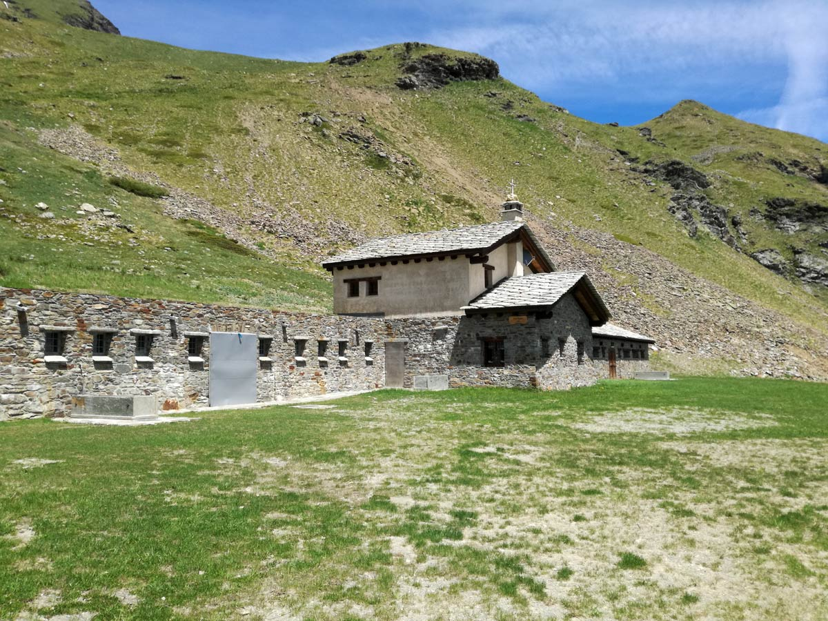 One of several refuges visited on self guided Aosta Valley walk in Italy