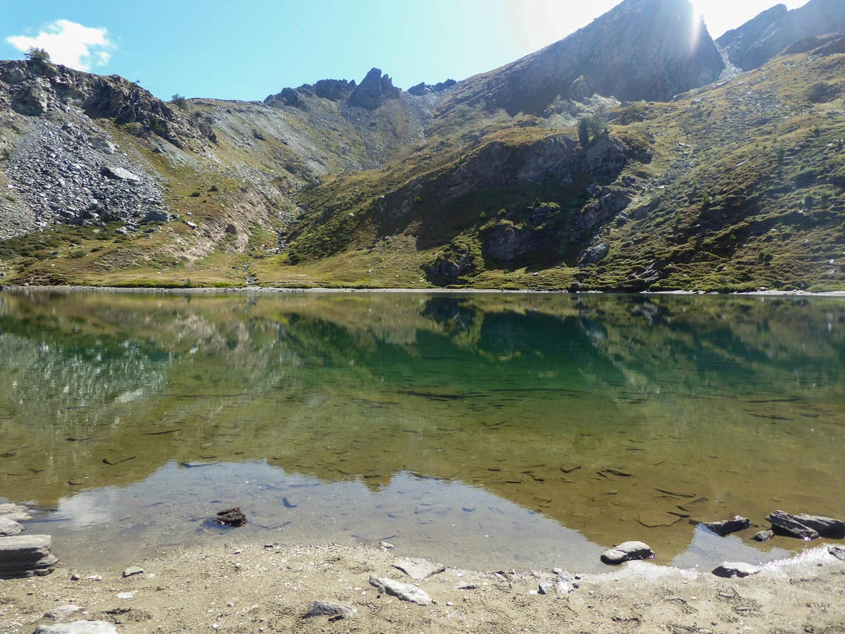 Lago de Louie visited on self guided Aosta Valley walk