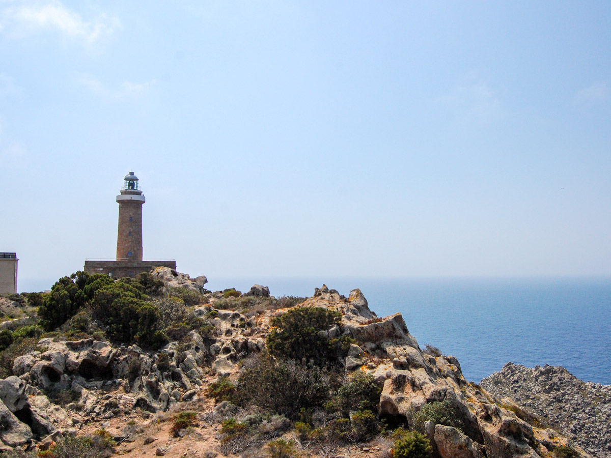 Lighthouse in Sardinia along the self guided walking path