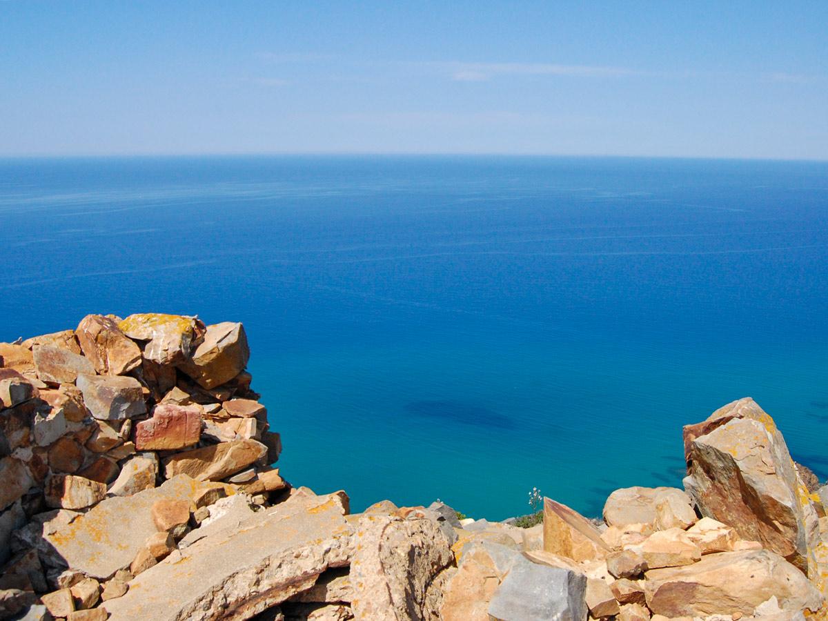 Looking down to Mediterranea Sea from the self guided Sardinia Coastal Walk