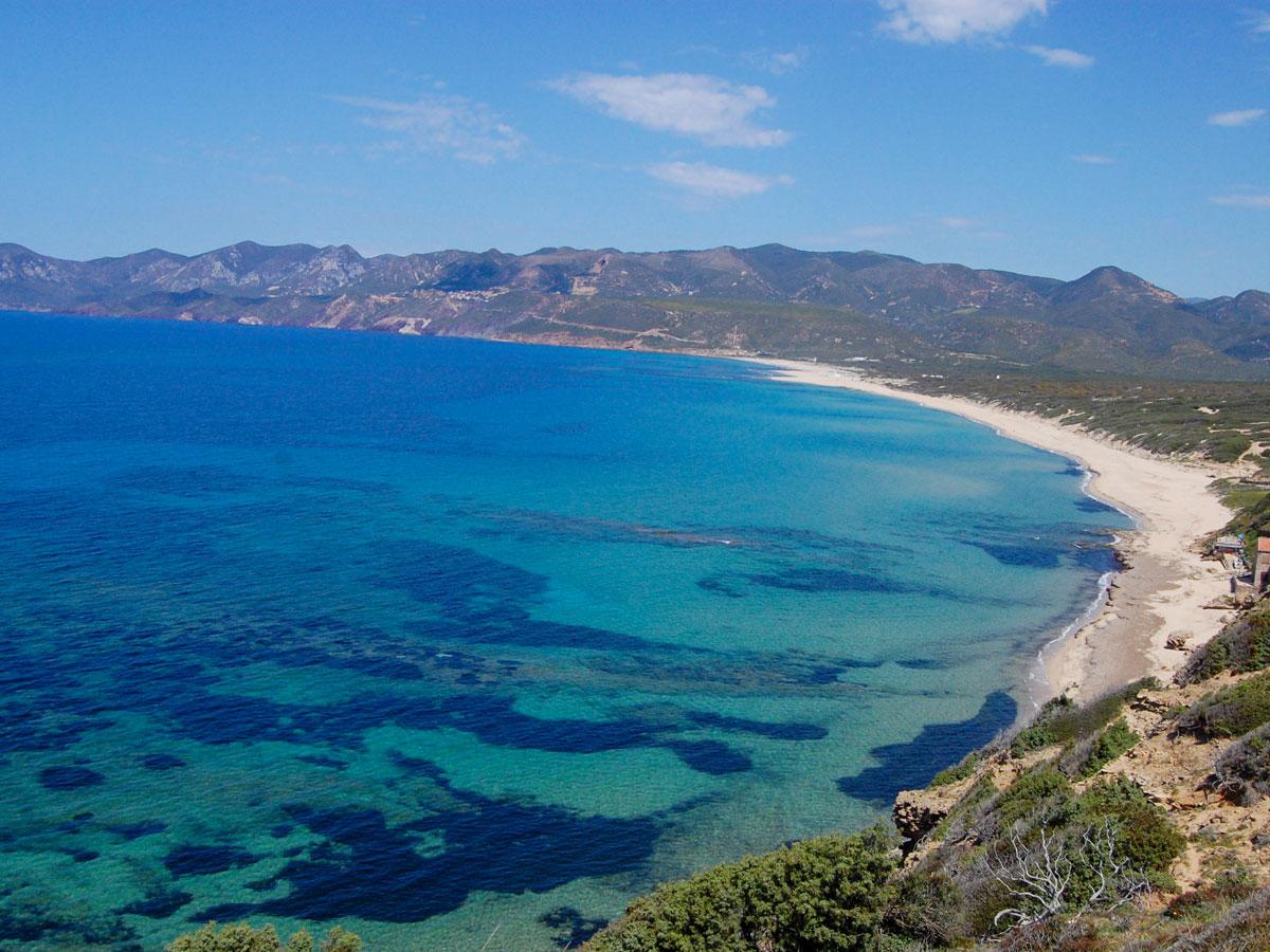 Looking down to the beautuiful bay in Sardinia Island