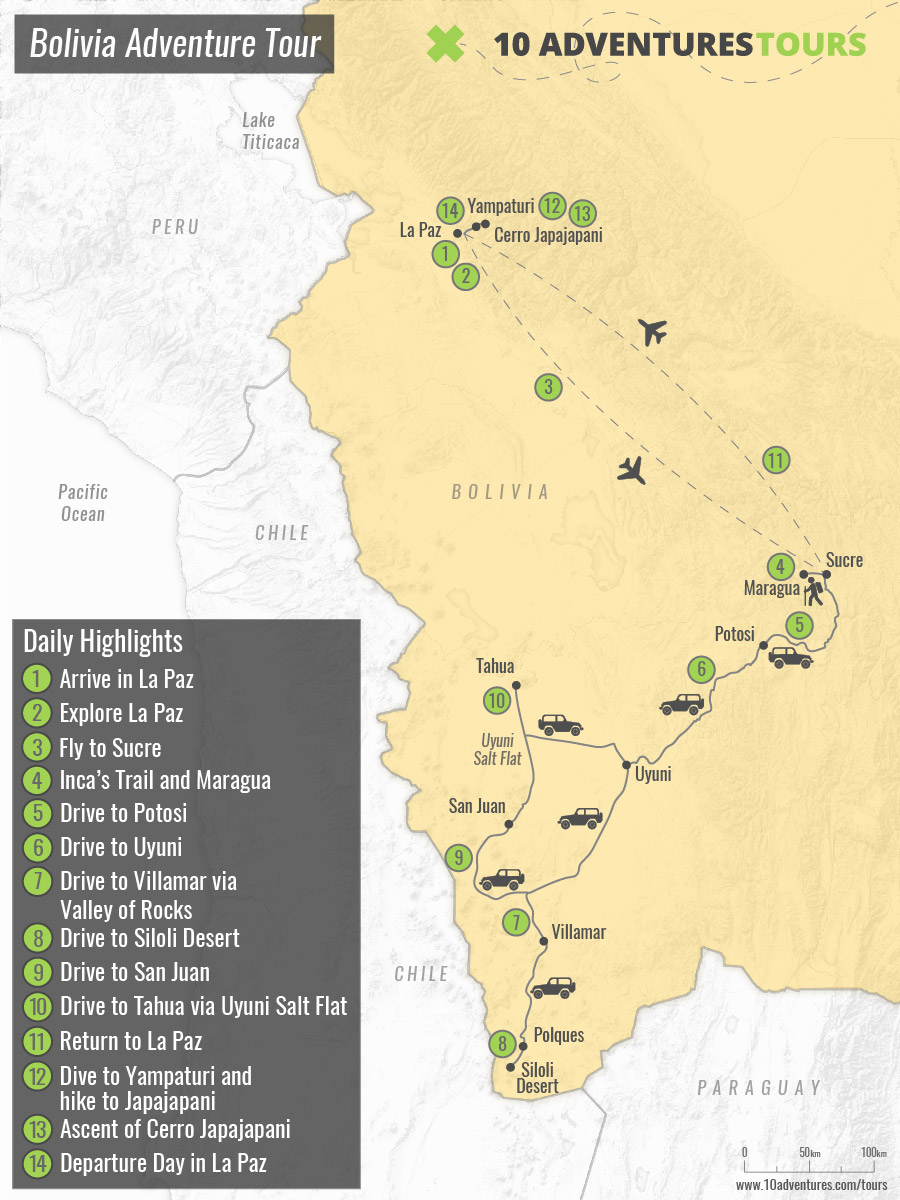 Map of guided Bolivia Adventure Tour