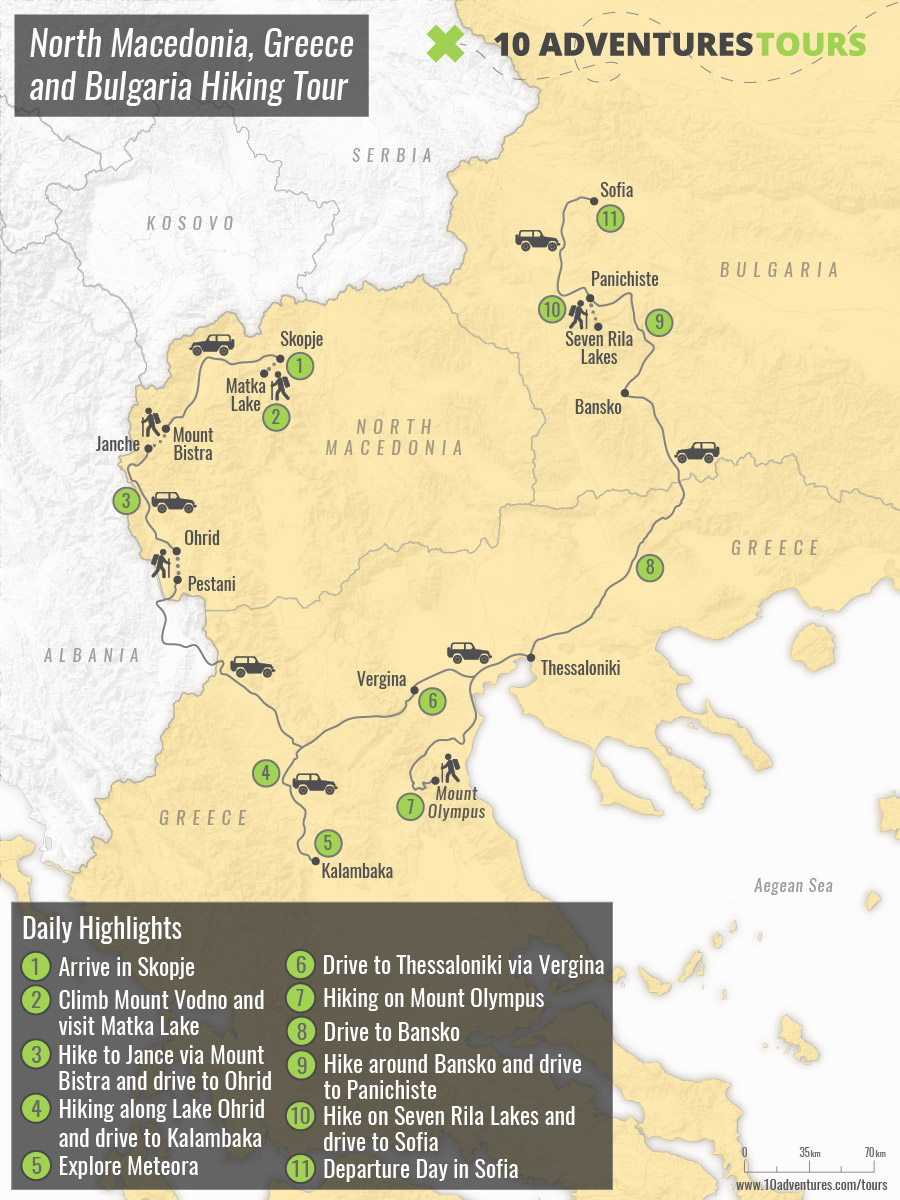 Map of North Macedonia, Greece and Bulgaria Hiking Tour