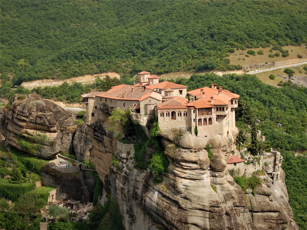 Meteora Monasteries, visited on Cycling with Gods tour in 3 Balkan Countries, including Greece