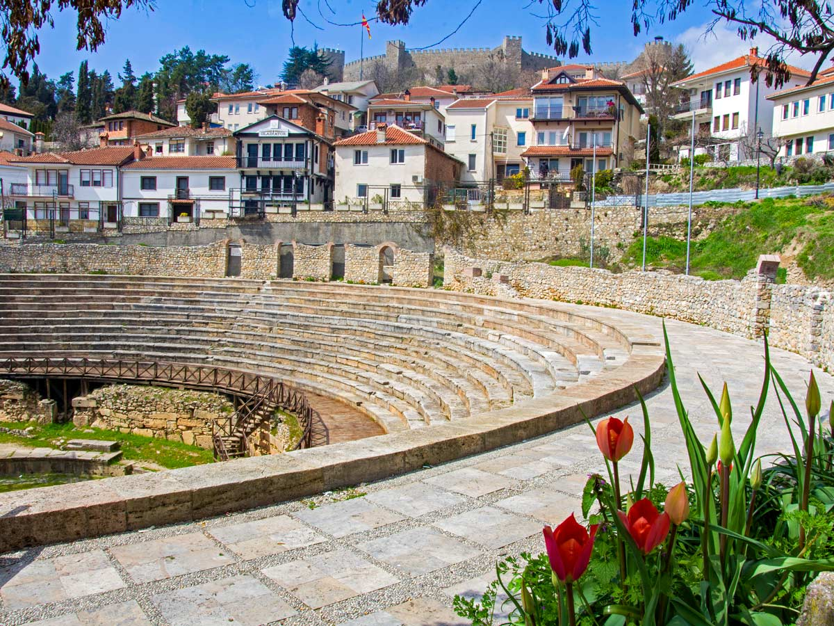 Ancient Theater in Ohrid seen on a Cycling Two Lakes tour in Macedonia