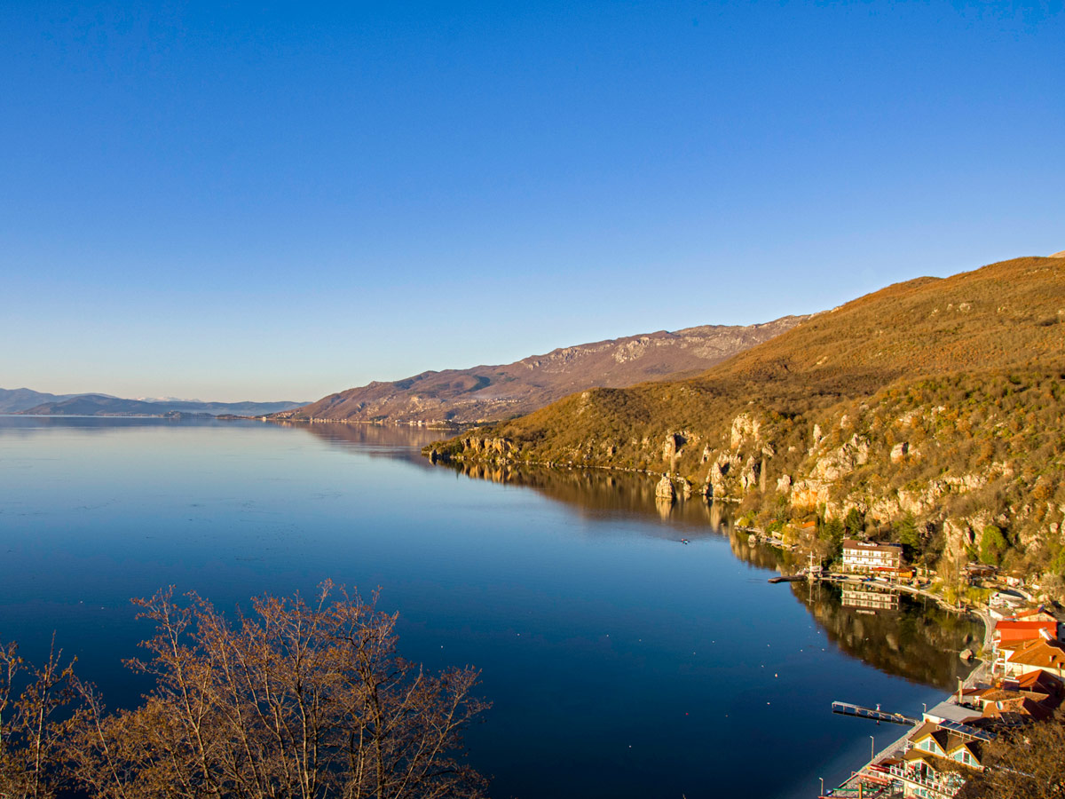 Views of the Ohrid Lake near the vilage Trpejca in Macedonia