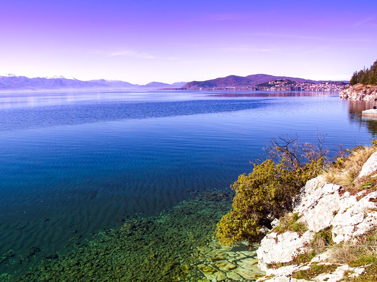 Ohrid lake shore along the hiking route of the guided hiking tour in Macedonia and Kosovo
