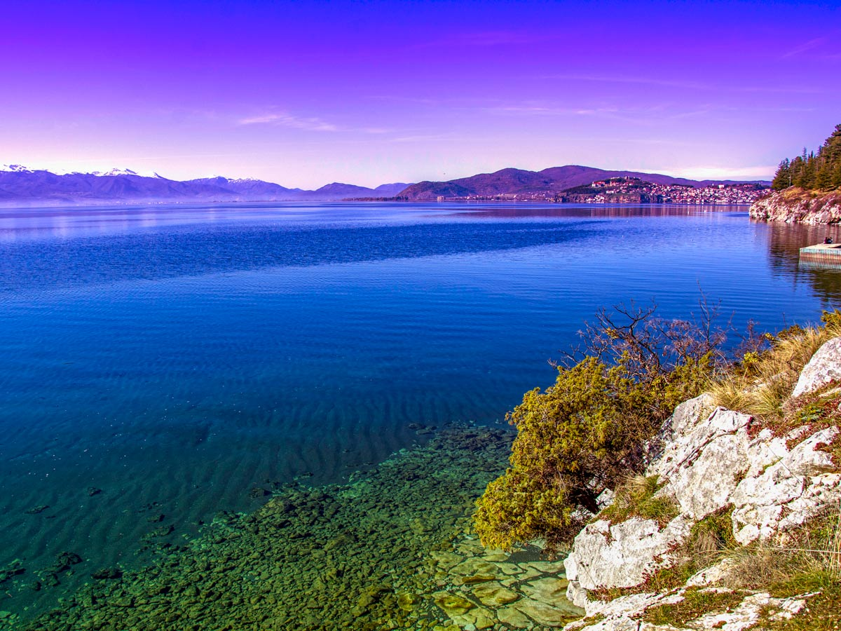 Ohrid lake shore as seen on a biking tour near two lakes in Macedonia