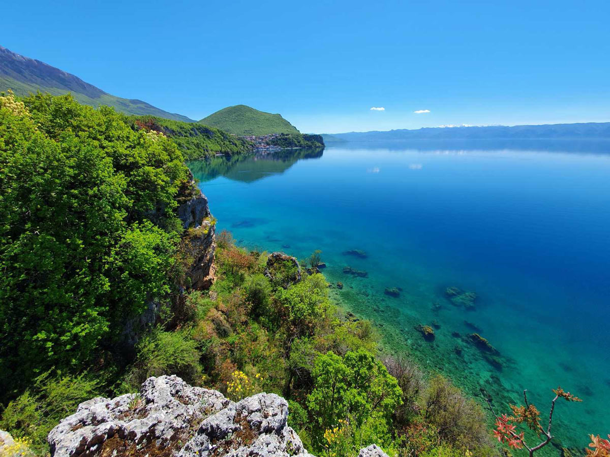 Ohrid Lake view in Macedonia as seen on a guided hike near the lakes