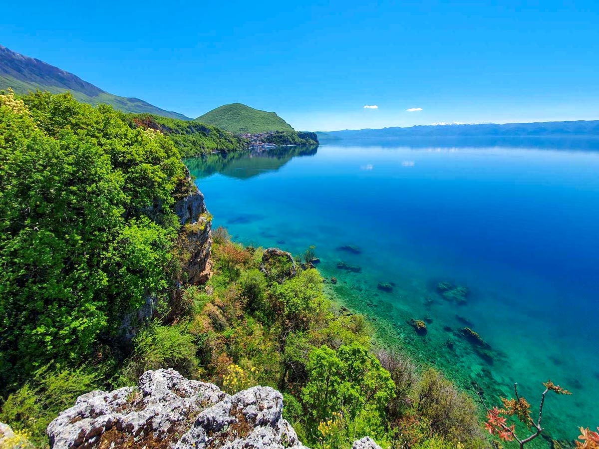 Ohrid Lake visited on Cycling Two Lakes Tour in Macedonia with a guide
