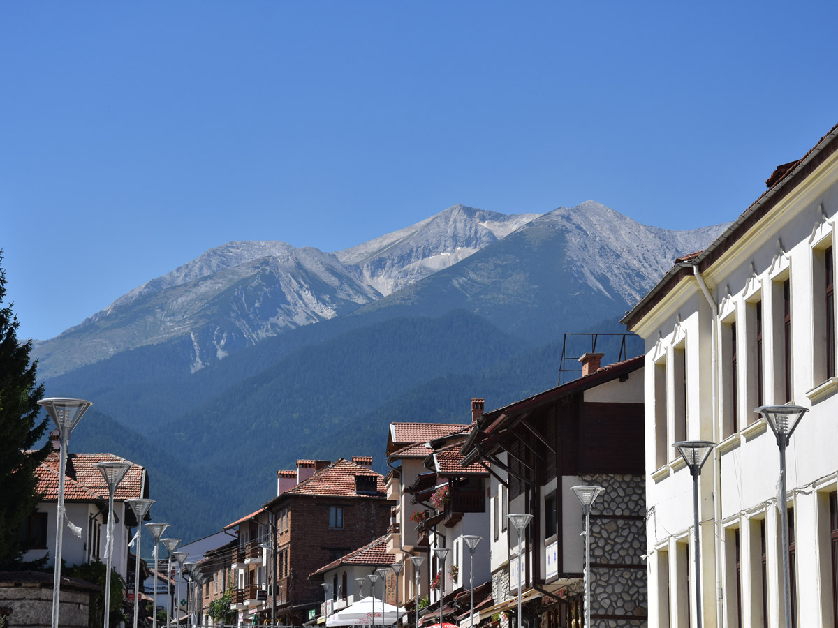Mountain views in Bansko seen on a guided cycling tour in Balkan countries