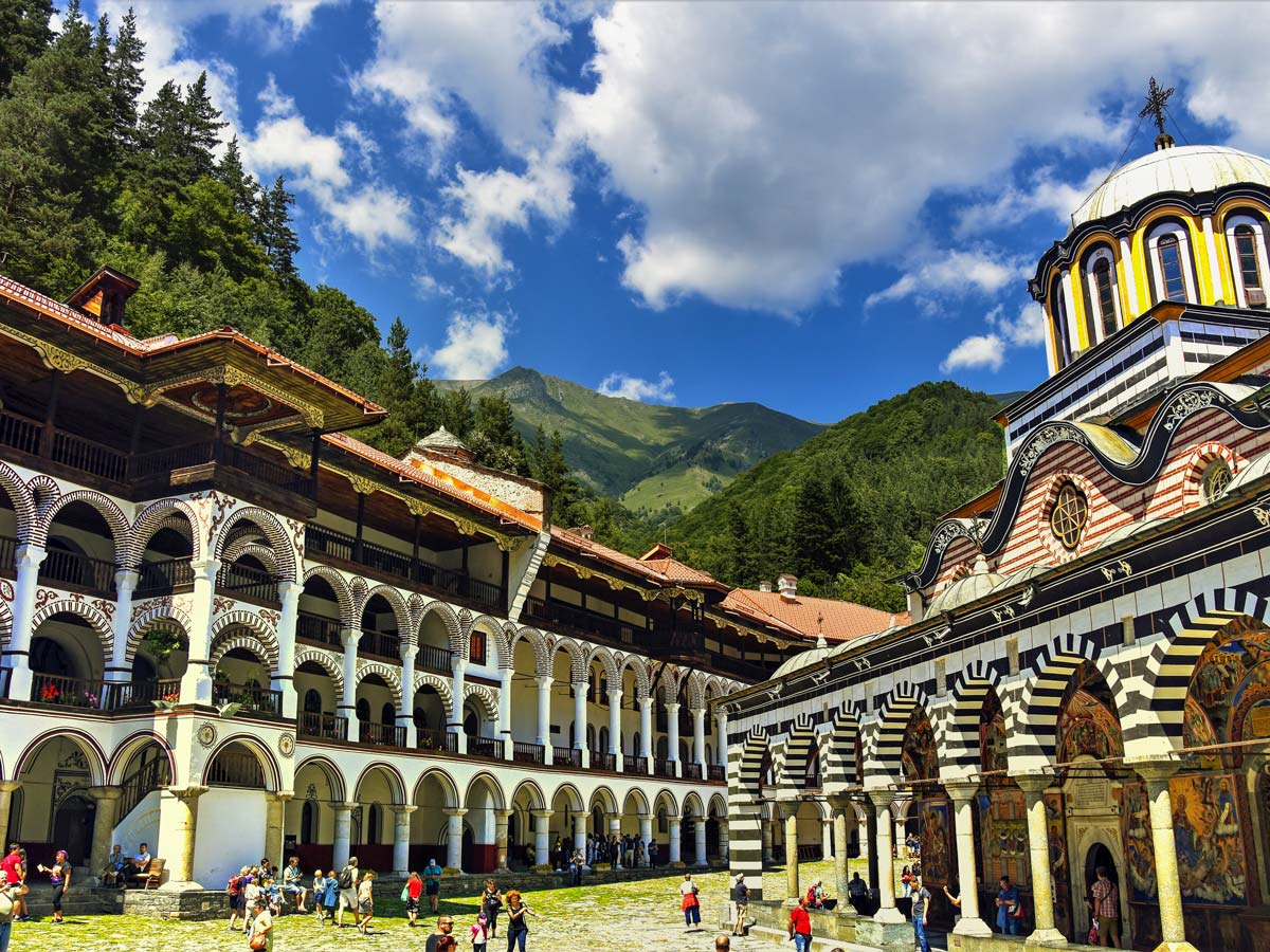 Rila Monastery in Bulgaria visited on a guided biking tour