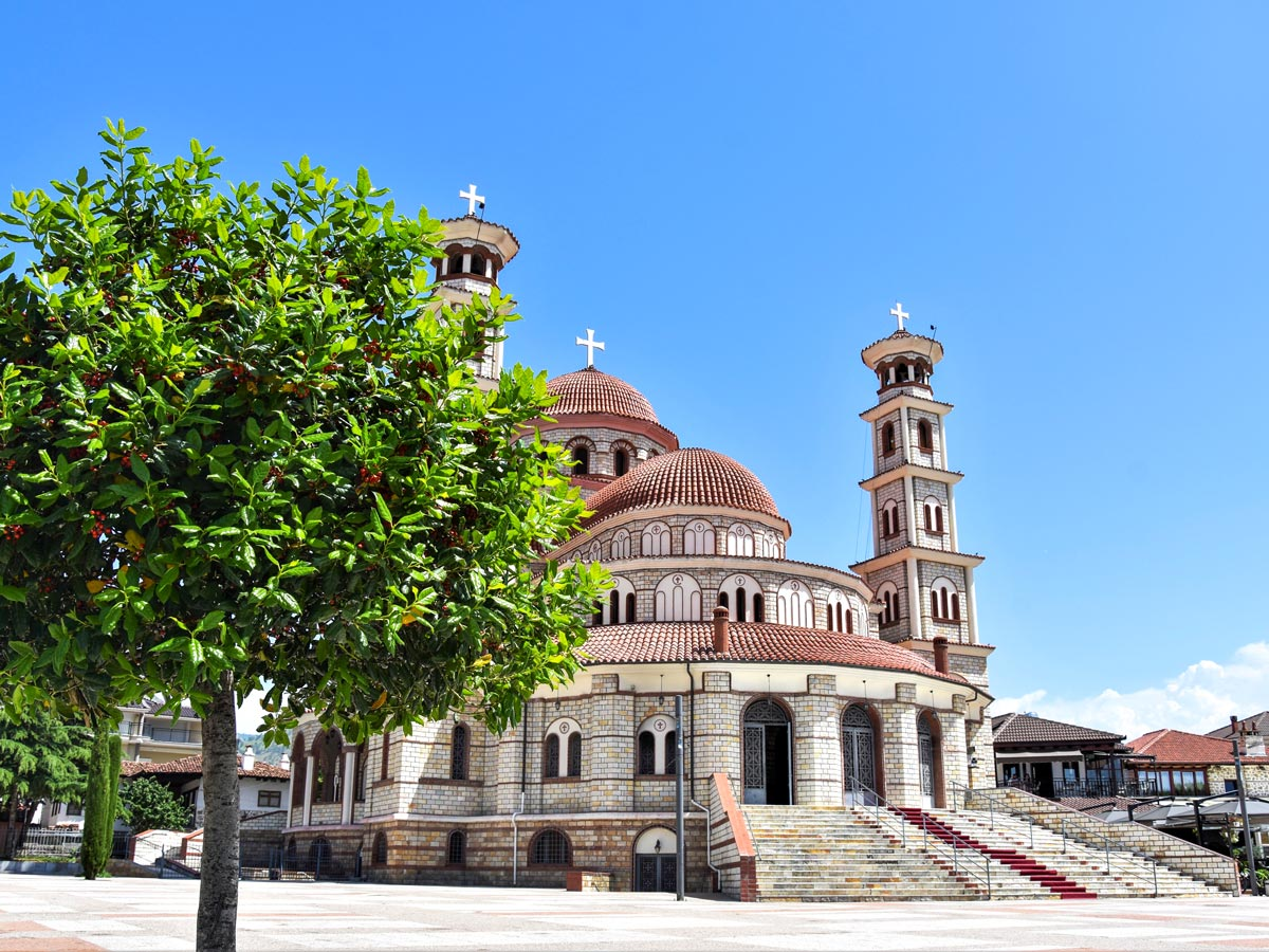 Korca Cathedral visited while in Albania on a Balkan Express Biking Tour