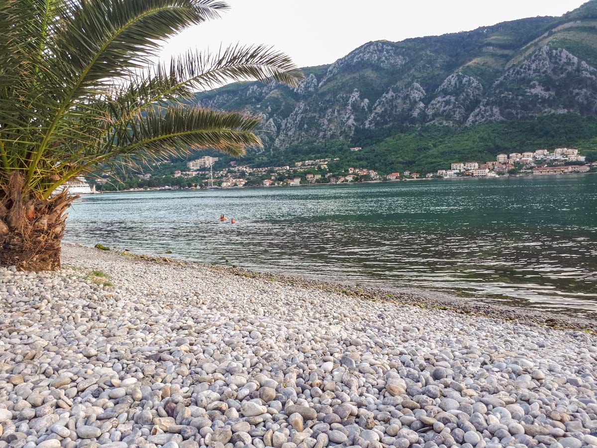 Kotor Beach in Montenegro visited on Cycling tour in Macedonia Albania and Montenegro