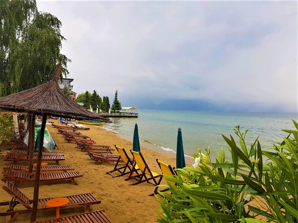 Pogradec beach in Albania as seen on a guided tour in Balkans