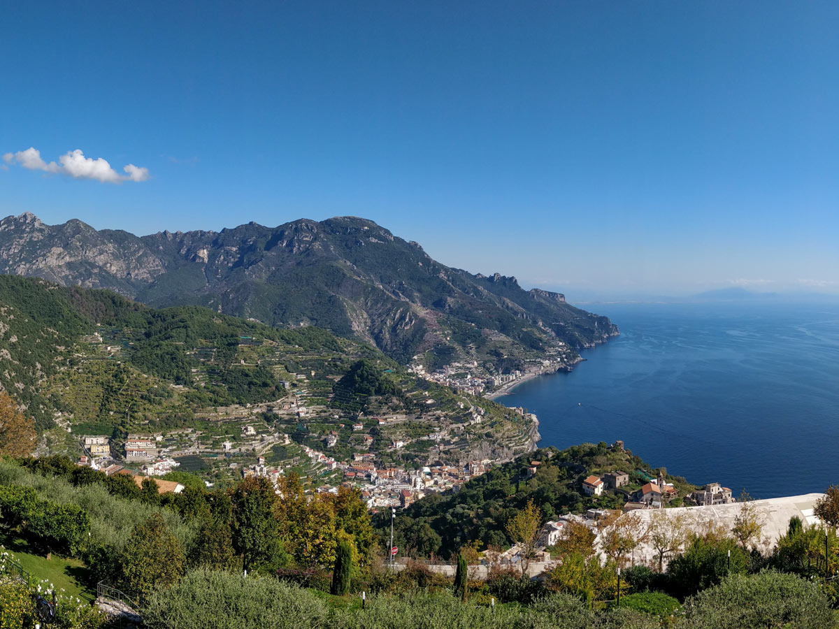 Panoramic view from the guided coastal walk in Amalfi Italy
