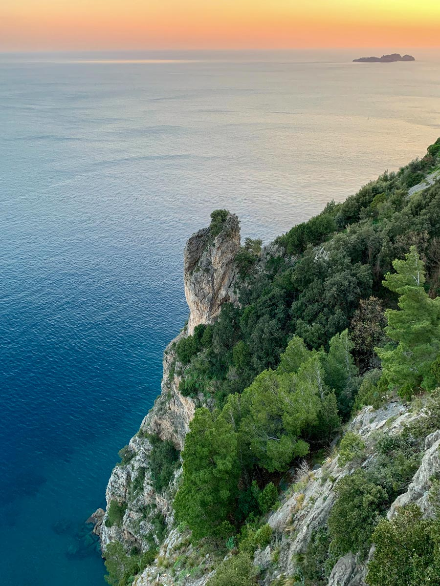 Beautiful sunset views of the ocean and Amalfi Coast seen on guided Amalfi Coast Walking Tour in Italy