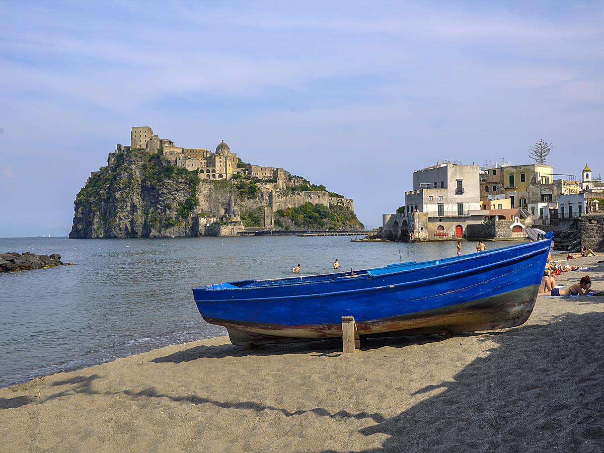 Boat near Castello in Ischia seen on guided Ischia Family Tour