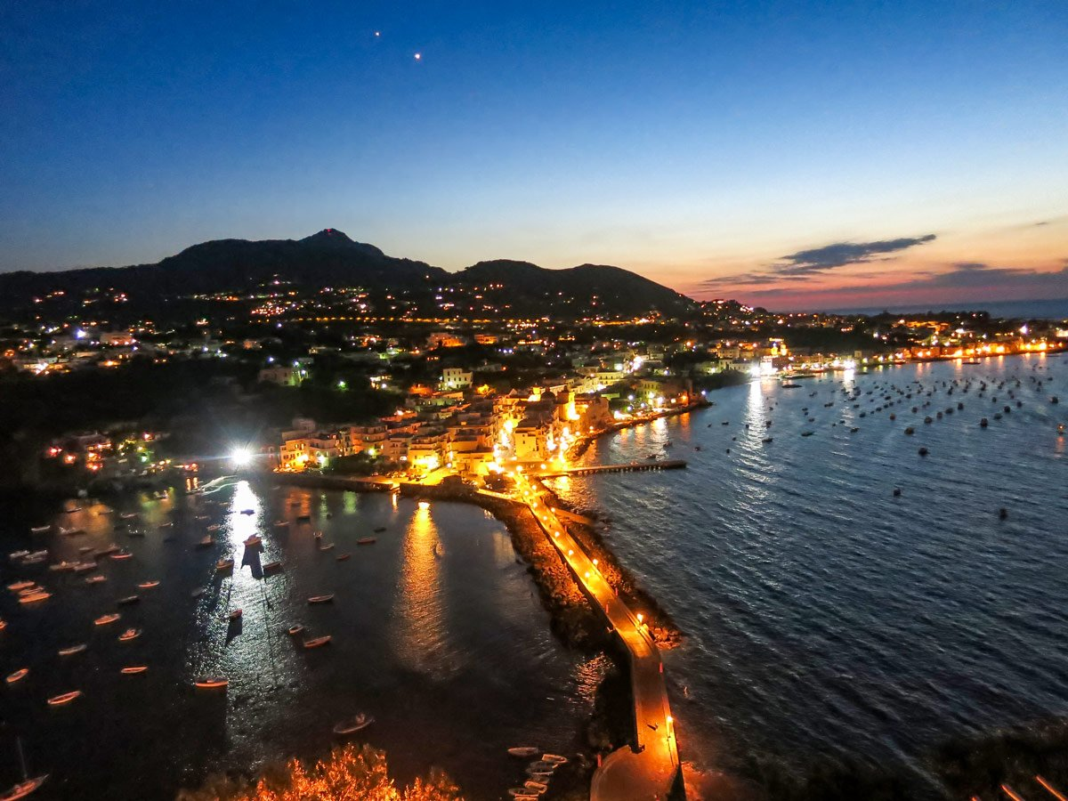 Castello Aragonese during the night as seen on Ischia Family Tour with a guide